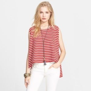 Free People Madness Stripe Muscle Tank in Red